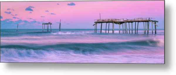 Metal Print featuring the photograph Sunset At Frisco Fishing Pier Panorama by Ranjay Mitra