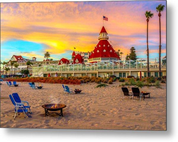 Sunset At Hotel Del Coronado Metal Print