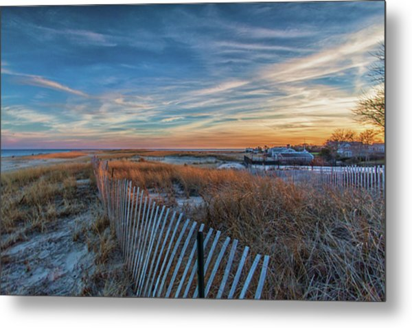 Sunset At Lighthouse Beach In Chatham Massachusetts Metal Print
