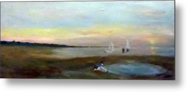 Sunset At Margate With Boats And A Boy With A Toy Boat Metal Print