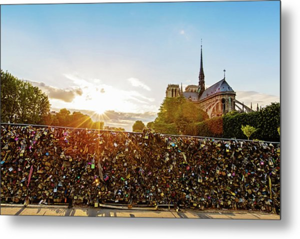 Sunset At Notre Dame De Paris Metal Print