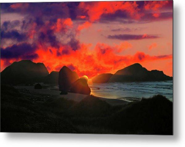 Sunset At Oregon Beach Metal Print