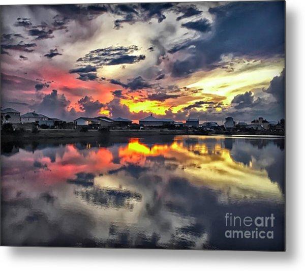 Sunset At Oyster Lake Metal Print
