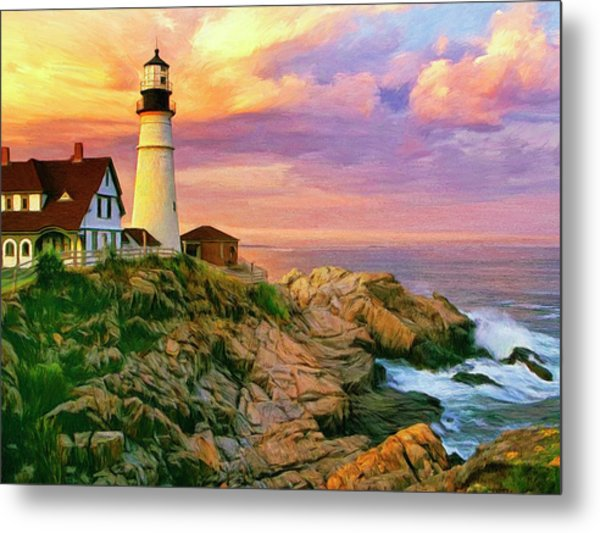 Sunset At Portland Head Metal Print