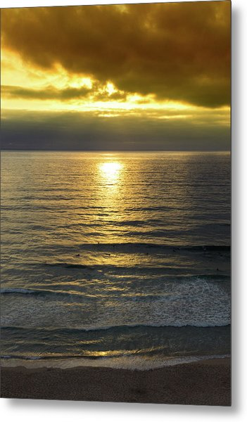 Sunset At Praia Pequena, Small Beach In Sintra Portugal Metal Print