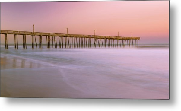 Metal Print featuring the photograph Sunset At Rodanthe Fishing Pier In Obx Panorama by Ranjay Mitra