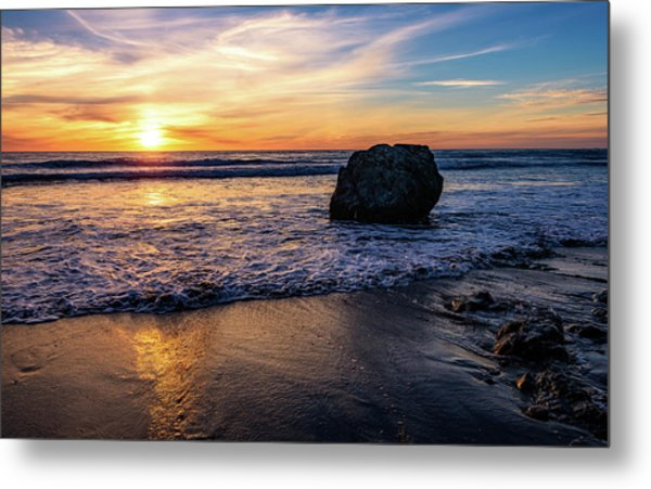 Sunset At San Simeon Beach Metal Print