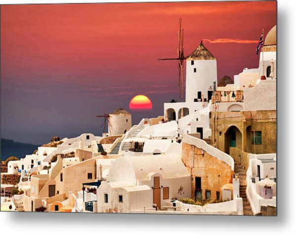sunset at Santorini Metal Print