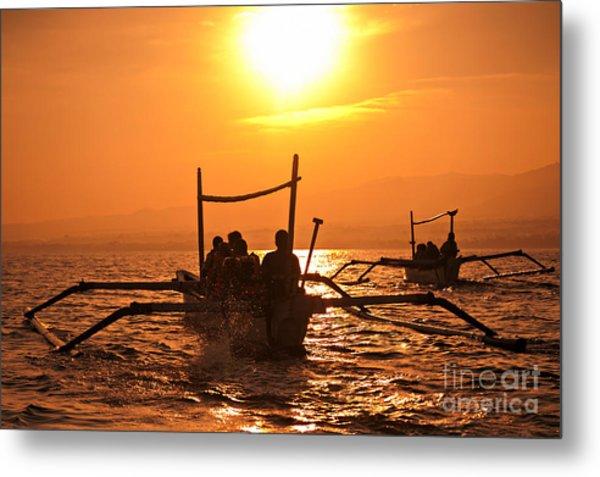 Sunset At Sea Indonesia Metal Print
