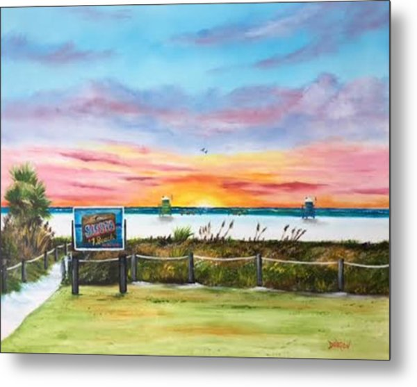 Sunset At Siesta Key Public Beach Metal Print