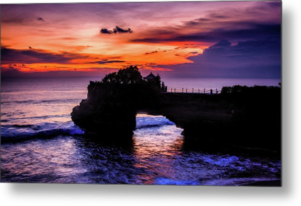 Sunset At Tanah Lot Metal Print