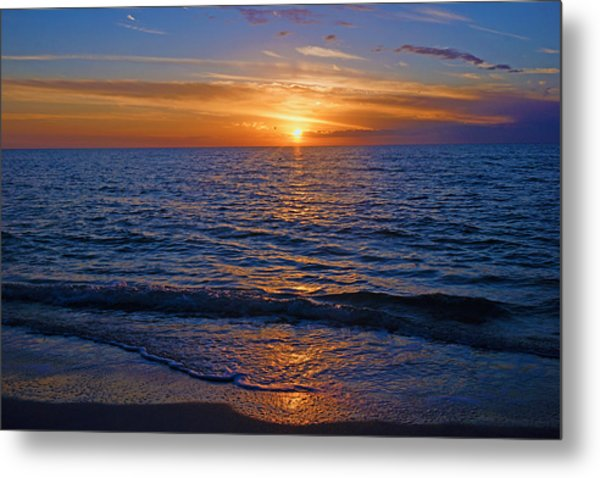Sunset At The Beach In Naples, Fl Metal Print