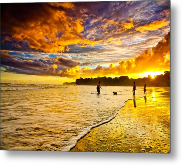 Sunset At The Coast Metal Print