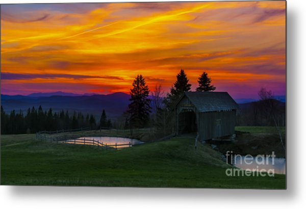 Sunset At The Foster Covered Bridge. Metal Print
