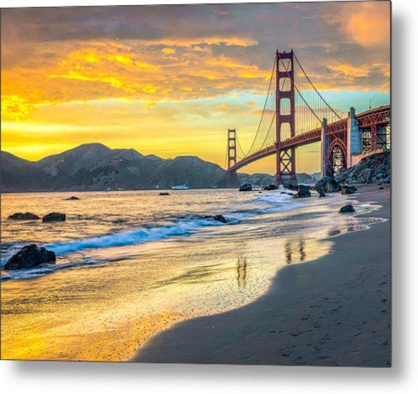 Sunset At The Golden Gate Bridge Metal Print