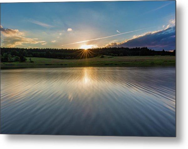 Sunset At The Mandelholz Dam, Harz Metal Print