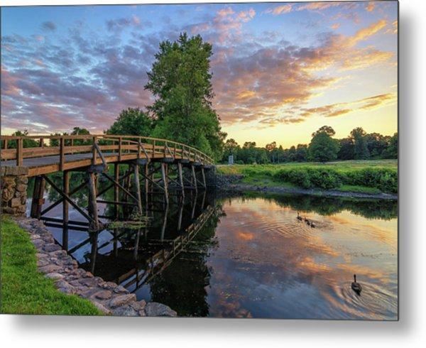 Sunset At The Old North Bridge Metal Print