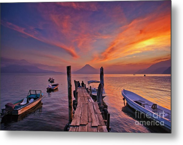 Sunset At The Panajachel Pier On Lake Atitlan, Guatemala Metal Print