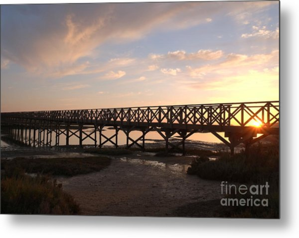 Sunset At The Wooden Bridge Metal Print