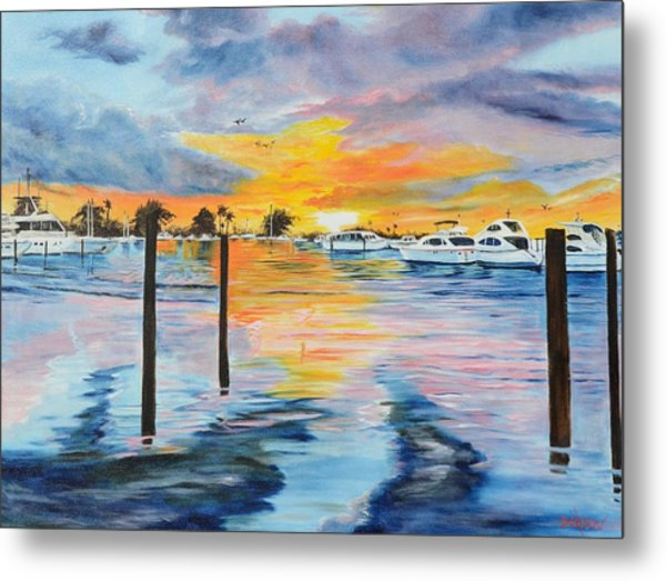Sunset At The Yacht Club Metal Print