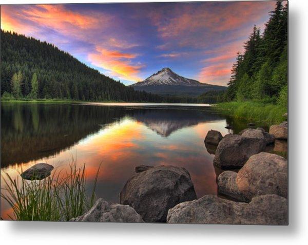 Sunset At Trillium Lake With Mount Hood Metal Print