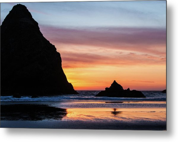 Metal Print featuring the photograph Sunset At Whalehead Beach by Jim Adams