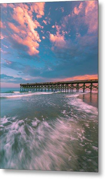 Sunset At Wilmington Crystal Pier In North Carolina Metal Print