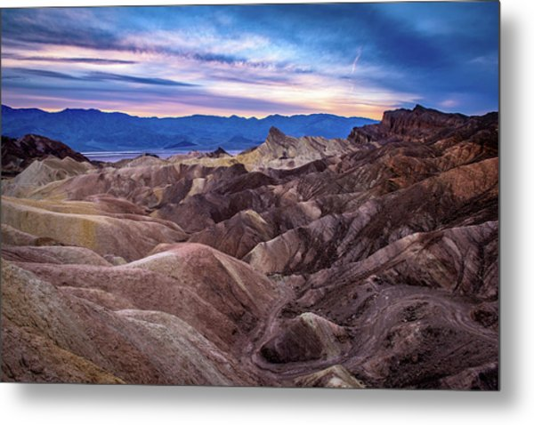 Sunset At Zabriskie Point In Death Valley National Park Metal Print