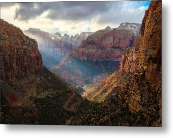 Metal Print featuring the photograph Sunset At Zion Canyon Overlook by Owen Weber