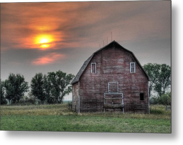 Sunset Barn Metal Print