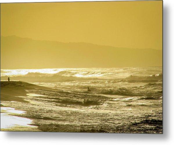 Sunset Beach Aglow  Metal Print