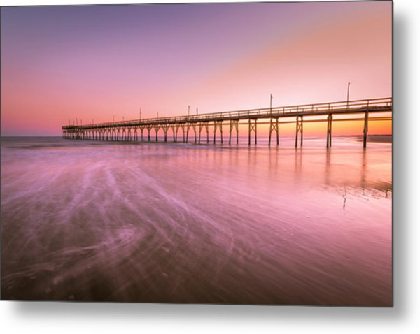 Metal Print featuring the photograph Sunset Beach Fishing Pier In The Carolinas At Sunset by Ranjay Mitra