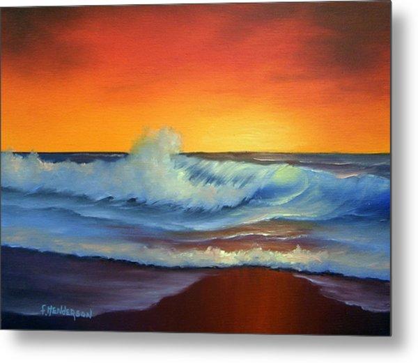 Sunset Beach Metal Print by Francine Henderson