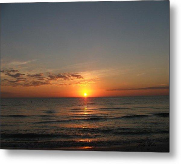 Sunset Beach Metal Print by Judy  Waller