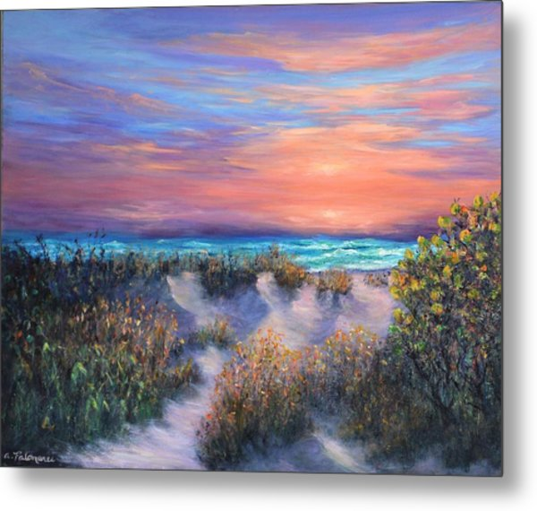 Sunset Beach Painting With Walking Path And Sand Dunesand Blue Waves Metal Print