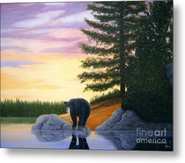 Sunset Bear Metal Print