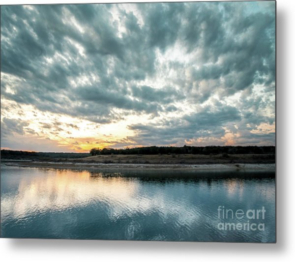 Sunset Behind Small Hill With Storm Clouds In The Sky Metal Print