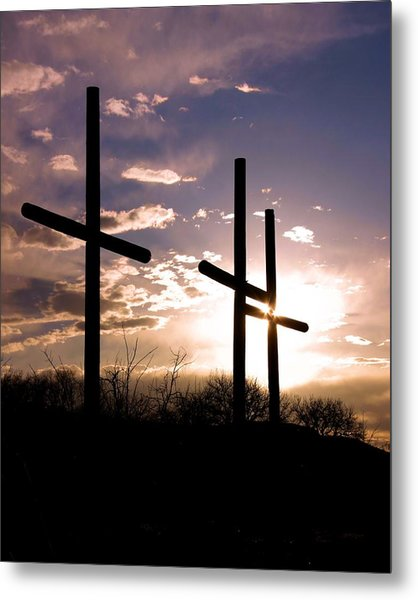 Sunset Behind The Cross Metal Print by Tim Abshire