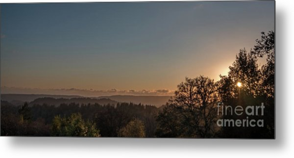 Sunset Behind Tree With Forest And Mountains In The Background Metal Print