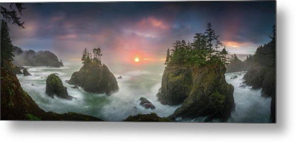 Sunset Between Sea Stacks With Trees Of Oregon Coast Metal Print