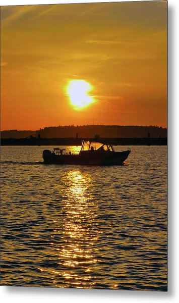 Sunset Boat Metal Print
