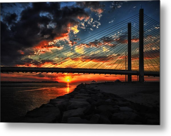 Sunset Bridge At Indian River Inlet Metal Print