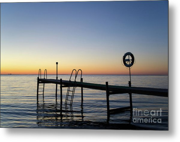 Sunset By The Old Bath Pier Metal Print