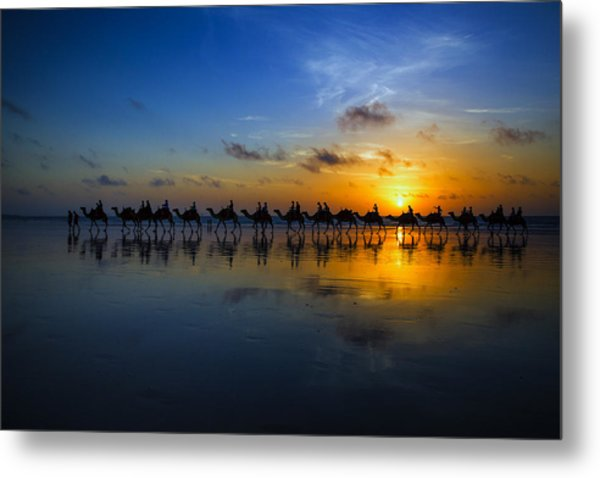 Sunset Camel Ride Metal Print