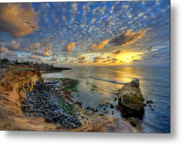 Sunset Cliffs With Brown Pelicans Metal Print