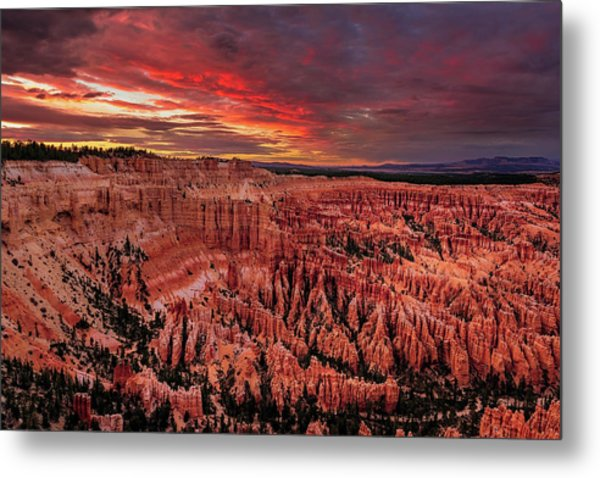 Sunset Clouds Over Bryce Canyon Metal Print