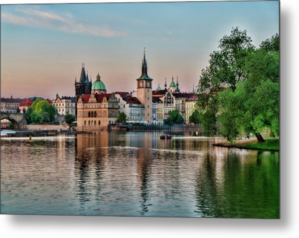 Sunset Cruise Prague Metal Print