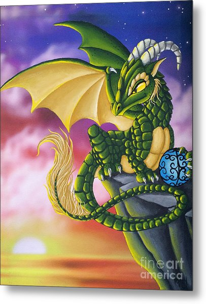 Metal Print featuring the painting Sunset Dragon by Mary Hoy