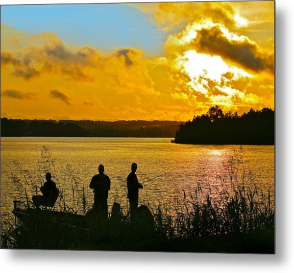 Sunset Fishermen Smith Mountain Lake Metal Print