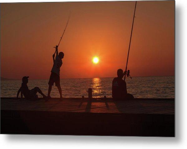 Sunset Fishermenr Metal Print